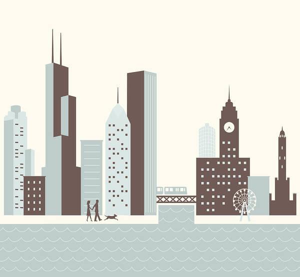 Exterior Digital Art - Chicago Walk by Hey Darlin