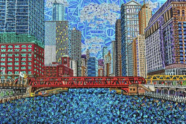 Wall Art - Painting - Chicago Wells Street Bridge 2 by Micah Mullen