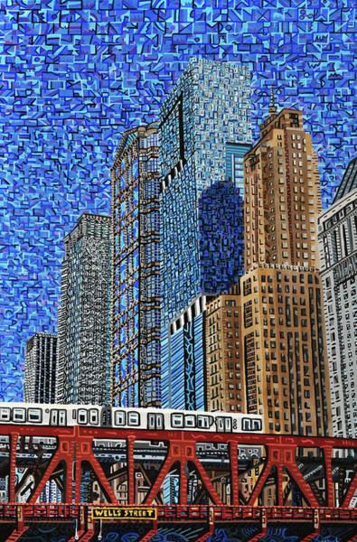Wall Art - Painting - Chicago Wells Street Bridge by Micah Mullen