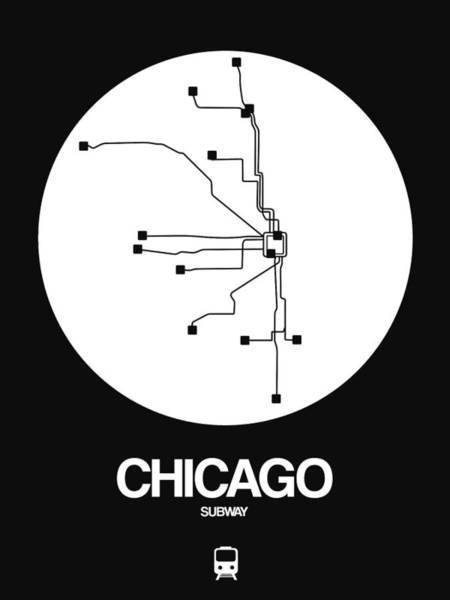 Wall Art - Digital Art - Chicago White Subway Map by Naxart Studio