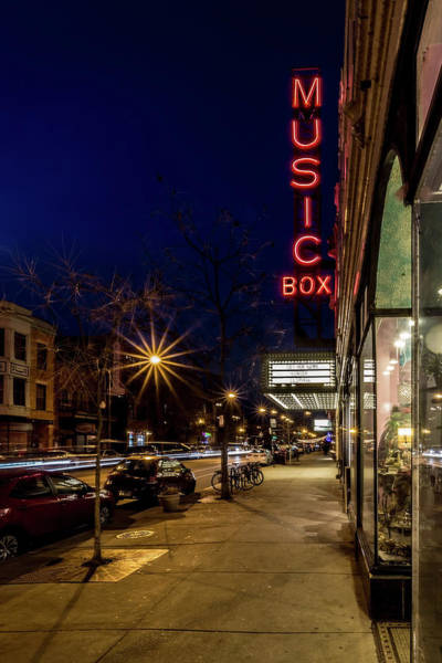 Photograph - Chicago's Music Box Theatre At Dusk  by Sven Brogren