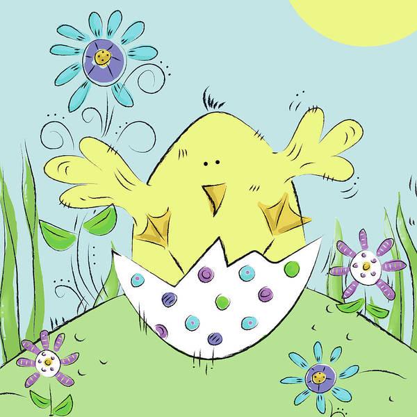 Wall Art - Digital Art - Chick Easter Egg by Deidre Mosher