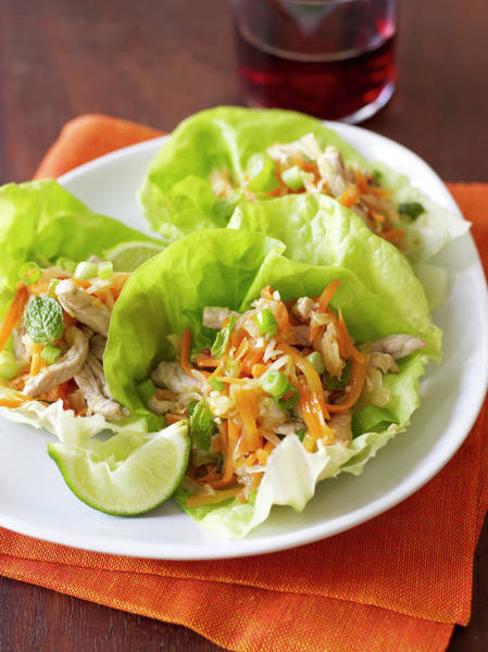 Napkin Photograph - Chicken Lettuce Cups With Vegetables by James Baigrie