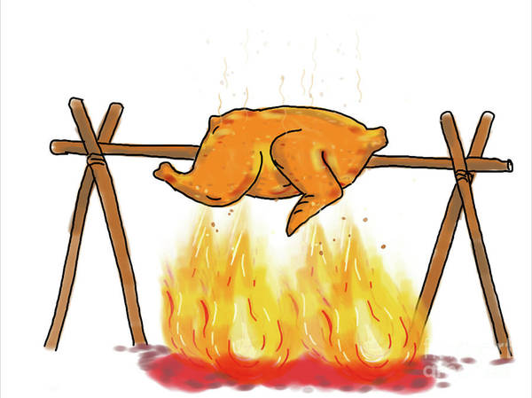 Bbq Digital Art - Chicken Roasting Barbecue Drawing  by Aloysius Patrimonio