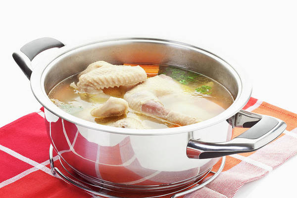 Napkin Photograph - Chicken Soup In Stew Pot On Napkin by Westend61