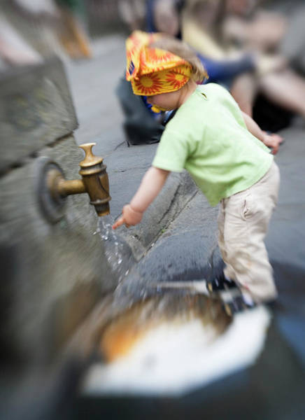 Wall Art - Photograph - Child And Italian Water Spigot by Marilyn Hunt