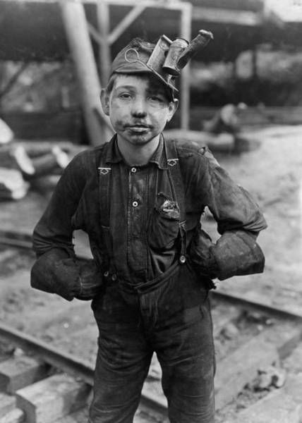 Wall Art - Photograph - Child Coal Miner - West Virginia - 1908 by War Is Hell Store