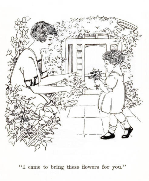 Quaint Drawing - Child Giving Flowers To Mom by Marilyn Hunt