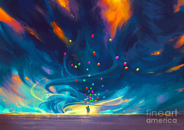 Wall Art - Digital Art - Child Holding Balloons Standing In by Tithi Luadthong