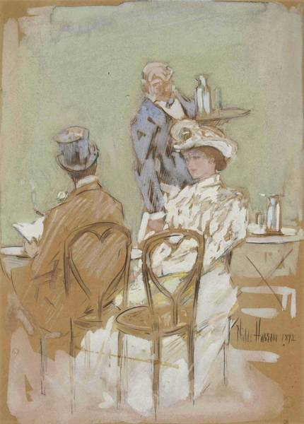 Wall Art - Painting - Childe Hassam  1859-1935 Outside The Cafe On The Grand Boulevard by Celestial Images