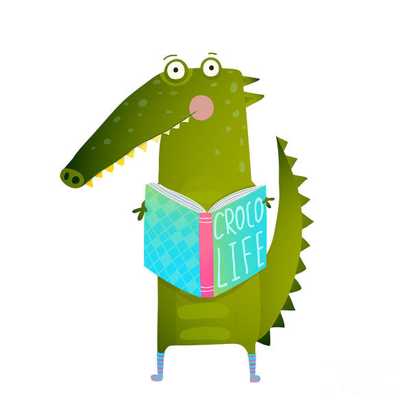 Wall Art - Digital Art - Childish Student Crocodile Reading Book by Popmarleo