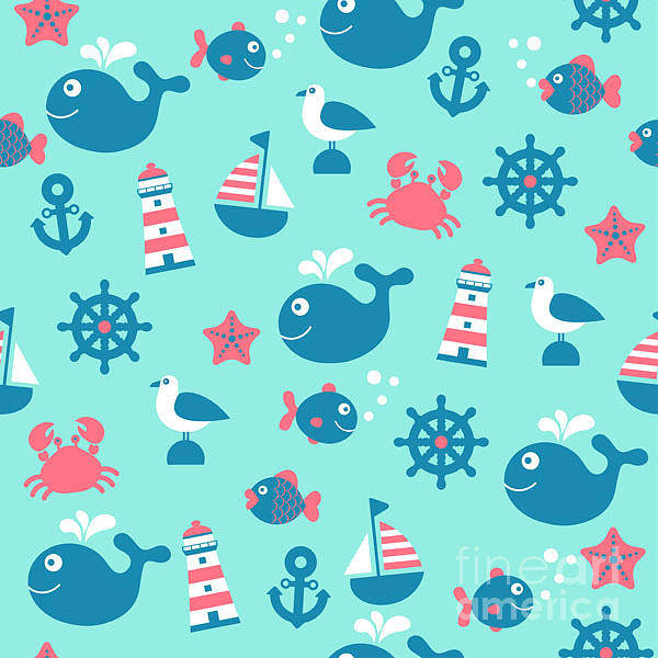 Yacht Wall Art - Digital Art - Childish Vector Nautical Seamless by Yulistrator