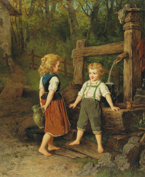 Wall Art - Painting - Children At The Well by Anton Ebert