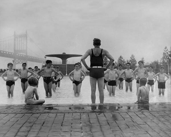 Photograph - Children Follow Instructor During Drill by New York Daily News Archive