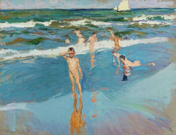 Wall Art - Painting - Children In The Sea, Valencia Beach, 1908 by Joaquin Sorolla