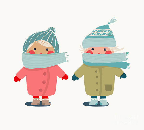 Wall Art - Digital Art - Children In Winter Cloth. Winter Kids by Popmarleo