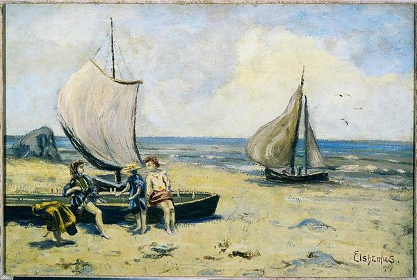 Wall Art - Painting - Children On The Beach - Louis Michel Eilshemius by Celestial Images