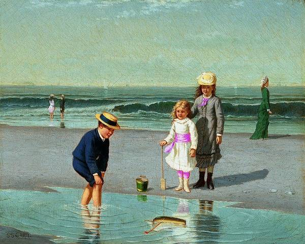 Wall Art - Painting - Children On The Beach Samuel S. Carr by Celestial Images