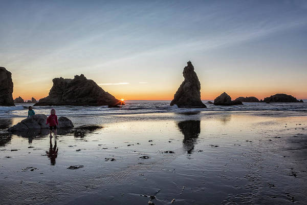 Photograph - Children Playing At Sunset On Bandon Beach by Belinda Greb