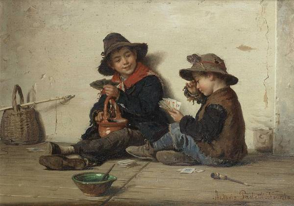 Wall Art - Painting - Children Playing Cardsantonio Ermolao Paoletti By Antonio Ermolao Paoletti by Celestial Images