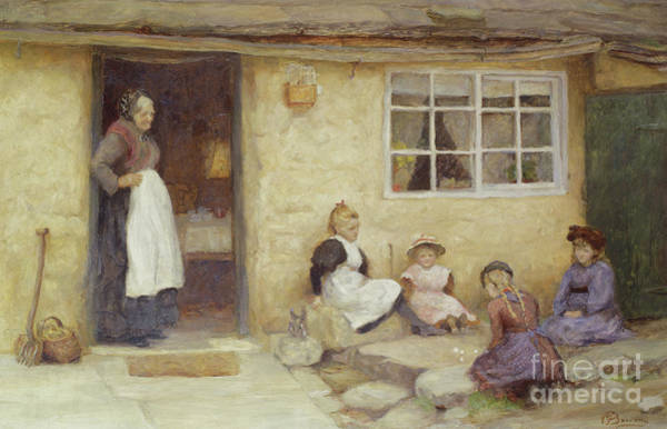 Wall Art - Painting - Children Playing Dice By A Cottage by English School