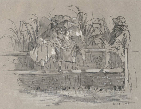 Wall Art - Drawing - Children Sitting On A Fence by Winslow Homer