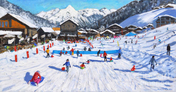 Wall Art - Painting - Children Sledging, Les Gets, France by Andrew Macara
