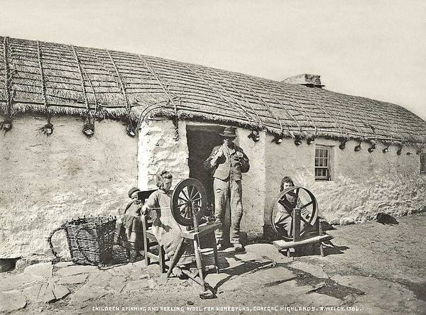 Wall Art - Painting - Children Spinning And Reeling Wool, Highlands, County Donegal, 1914 By R. Welch by Celestial Images