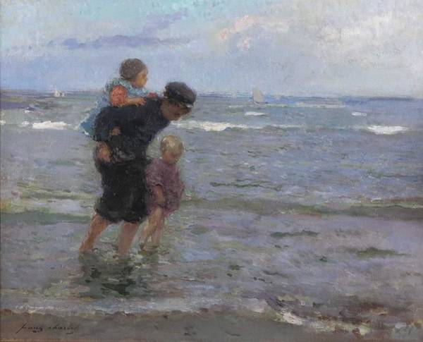 Wall Art - Painting - Children Walking Along The Beach By Frantz Charlet by Celestial Images
