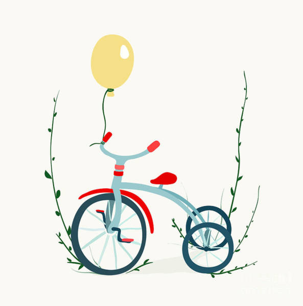 Wall Art - Digital Art - Childrens Tricycle Drawing. Childish by Popmarleo