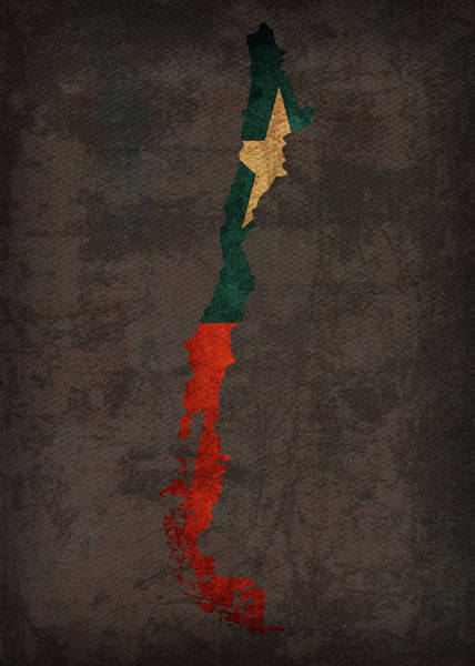 South America Mixed Media - Chile Country Flag Map by Design Turnpike