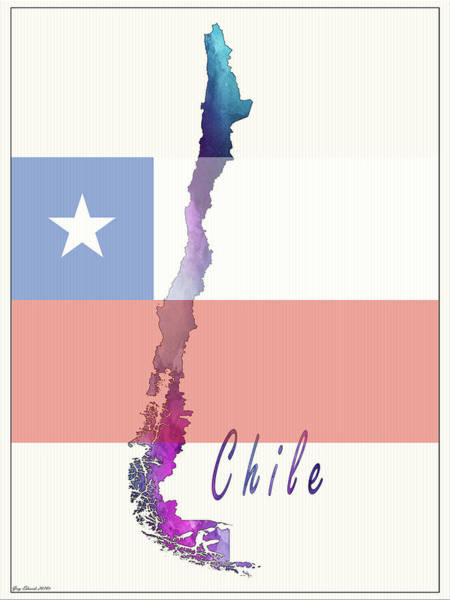Flag Of Chile Wall Art - Painting - Chile Watercolor Map Style 2 by Greg Edwards