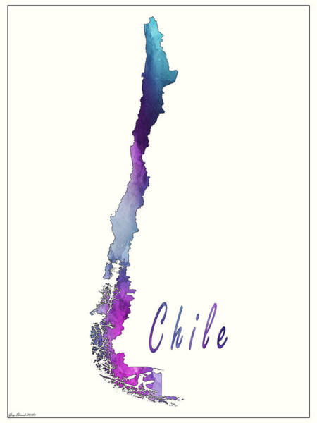 Flag Of Chile Wall Art - Painting - Chile Watercolor Map Style 3 by Greg Edwards