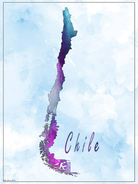 Flag Of Chile Wall Art - Painting - Chile Watercolor Map Style 5 by Greg Edwards