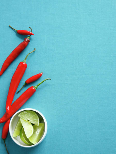 Healthy Eating Photograph - Chilis With Bowl Of Lime Wedges by Cultura Rm Exclusive/brett Stevens