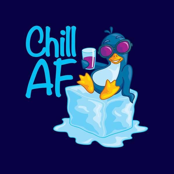 Wall Art - Digital Art - Chill Af Penguin On Ice by John Schwegel