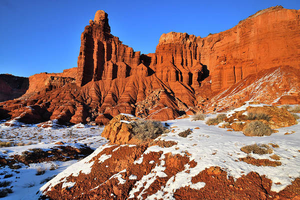 Photograph - Chimney Rock In Capitol Reef Np by Ray Mathis