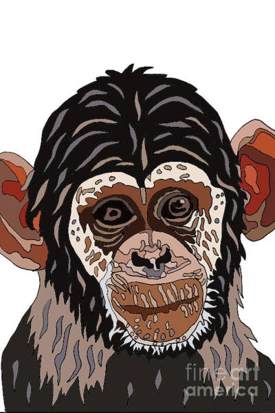 Wall Art - Digital Art - Chimp by Karen Elzinga
