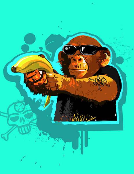 Wall Art - Digital Art - Chimpanzee Holding Banana Like Gun by New Vision Technologies Inc