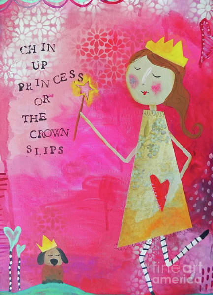 Pretty In Pink Mixed Media - Chin Up Princess by Carla Seaton