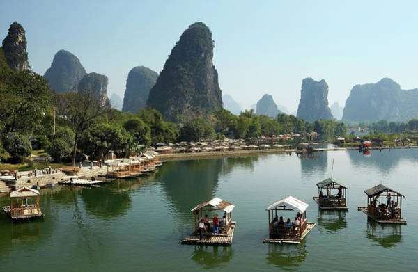 Raft Photograph - China, Guangxi Province, Guilin by Wilfried Krecichwost