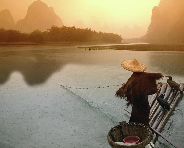 Raft Photograph - China, Guangxi, Yangshuo, Fisherman by Keren Su