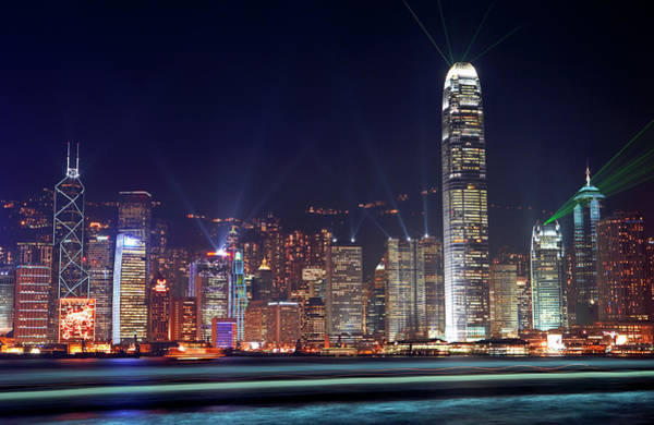 Night Photograph - China, Hong Kong, Skyline At Night by Allan Baxter