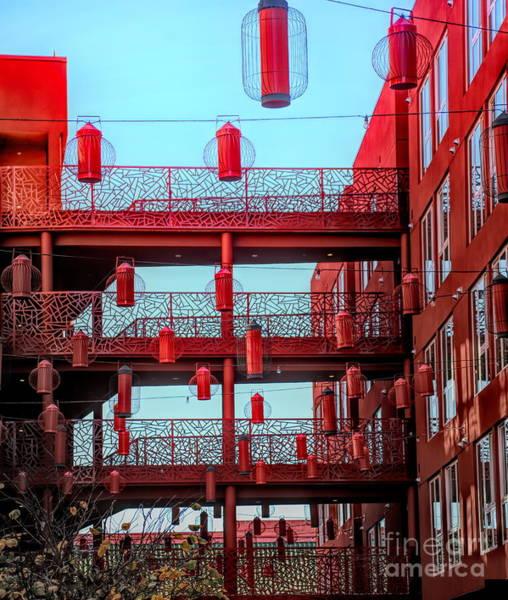 Wall Art - Photograph - China Lantern Light Apartments Chinatown Los Angeles  by Chuck Kuhn