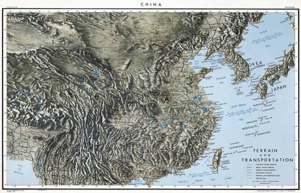 Wall Art - Painting - China Map, 1944 by Granger