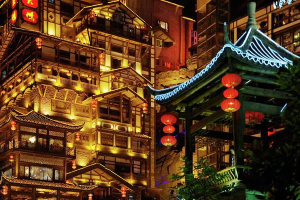 Chinese Pavilion Photograph - China, Sichuan Province, Chongqing by Keren Su