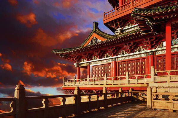 Painting - China Temple At Sunrise by Russ Harris