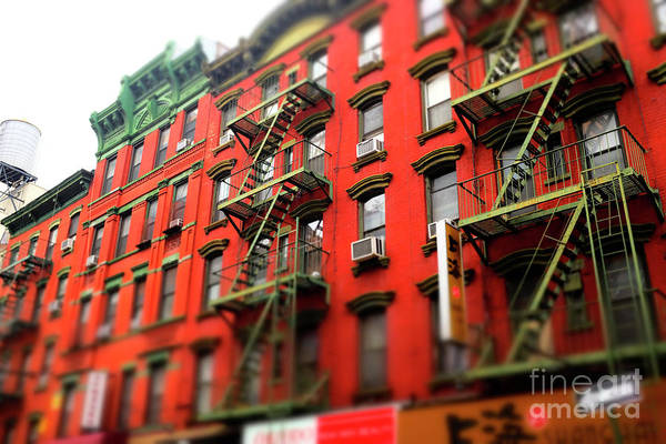 Photograph - Chinatown Red Brick Building New York City by John Rizzuto