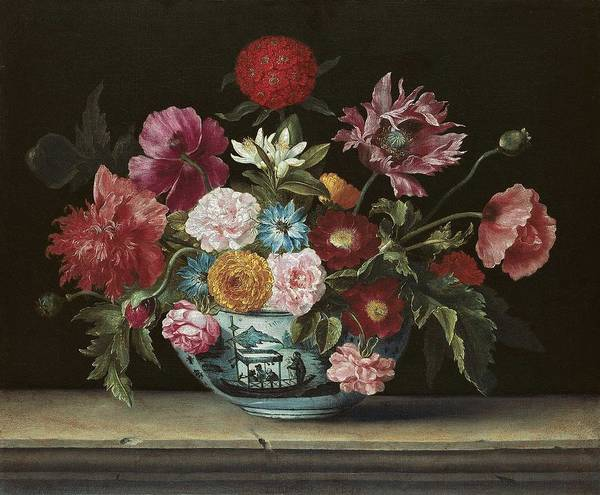 Wall Art - Painting - Chinese Bowl With Flowers Jacques Linard by Celestial Images