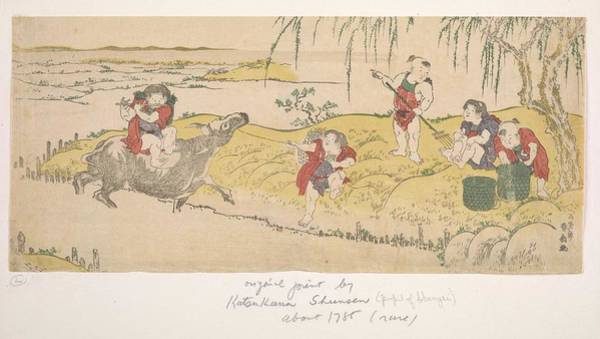 Wall Art - Painting - Chinese Boys Tending A Garden By Katsukawa Shunsen  Fl. Late 1780 S  Woodblock Print  Ink And Color  by Celestial Images